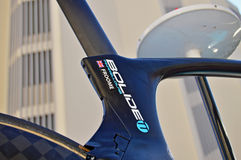 Chris Froome Name On Bike Seatpost. A close up of the seatpost on the time trial bike of Chris Froome. Taken at the Time Trial stage of the 2016 La Vuelts de Royalty Free Stock Photography