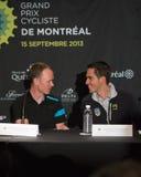 Chris Froome och Alberto Contador på elitpresskonferensen Royaltyfri Bild