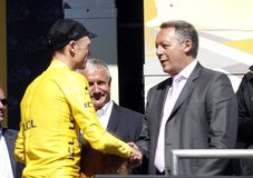 Chris Froome and Thierry Braillard Tour de France 2015 Royalty Free Stock Photography