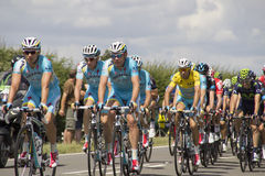 Chris Froome in Yellow Jersey Tour De France 2014. Chris Froome riding in Yellow Jersey at the Tour De France 2014 Riders Stage 3 at Duxford on Stage 3 from Royalty Free Stock Image