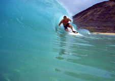 Chris Gagnon Bodyboarding en Hawaï photographie stock
