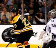 Chris Kelly screens Dewayne Roloson (NHL). Boston Bruins forward Chris Kelly (23) screens Tampa Bay Lightning goalie Dewayne Roloson (35 Royalty Free Stock Photography