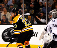 Chris Kelly sortiert Dewayne Roloson aus (NHL) Lizenzfreie Stockfotografie