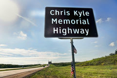 Chris Kyle Memorial Highway. Midlothian, Texas - Aug.28,2016 Chris Kyle Memorial Hwy part of Hwy 287 in Midlothian ,Texas opened in 2016. Chris Kyle was the royalty free stock photography