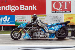 Chris Matheson Willowbank 2012. Top Bike rider Chris Matheson (number 1) on his Nitro bike at the 2012 Fuchs Winternationals, Willowbank, Queensland Australia Royalty Free Stock Photo
