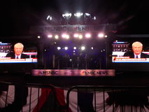 Chris Matthews Films Live in Outdoor Pop Up MSNBC News Studio Royalty Free Stock Image