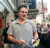 Chris noth. Signs an autograph of the playbill of his show that  championship  season Royalty Free Stock Image