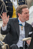 Chris O´Neill waving his hand in a carriage on the way to Riddarholmen after the wedding Stock Images