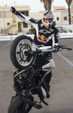Chris pfeiffer on bmw f 800r. Chris pfeiffer bmw moto f800r during his show Royalty Free Stock Photos