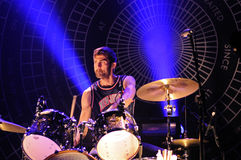 Chris Tomson, drummer of Vampire Weekend (band), performs at Razzmatazz stage Stock Photos