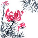 Chrisantemium i bambus kwiaty ilustrację Zdjęcie Royalty Free