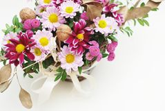 Chrisantemum fresh flower Arrangement or Composition bouquet Top view, Isolated on white background. Mix of Pink and. Chrisantemum fresh flower Arrangement or Royalty Free Stock Photo