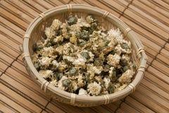 Chrisantemum op Bamboe royalty-vrije stock fotografie