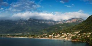 Chrisi Ammoudia金黄海滩Thassos Skala Panagia希腊 图库摄影