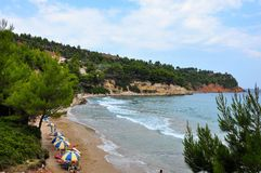 Chrisi milia beach in greek island Alonissos. Greece royalty free stock photo