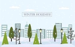 Chrismas冬天平的风景背景 新年传染媒介贺卡 图库摄影
