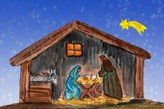 Chrismas风景,水彩绘画 免版税库存照片