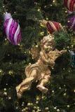 Chrismas-дерев-Анджел-играть-скрипка Стоковое Изображение