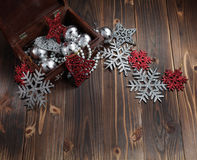 Chrismas. Ornament in a wooden box Royalty Free Stock Image