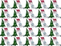 圣诞老人雪人和chrismas树无缝的样式 库存图片