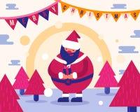Chrismas allegro, tenuta di Santa Claus il regalo, albero di Natale Immagine Stock
