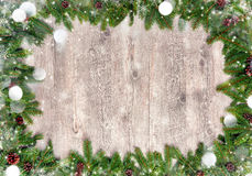 Chrismas background with snow and fir tree Royalty Free Stock Photos