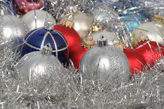 Chrismas balls. On silver background Royalty Free Stock Photo