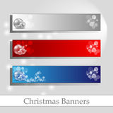 Chrismas banners with message frame. Christmas banners with silver balls and blank frame Royalty Free Stock Photography