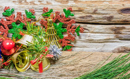 Chrismas baubles and vary of decoration on wood background Royalty Free Stock Images
