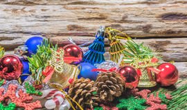 Chrismas baubles and vary of decoration on wood background Royalty Free Stock Photo