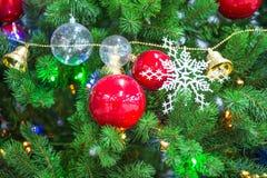Chrismas-Baum und roter Ball Stockfoto