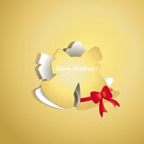 Chrismas bell peel off from gold paper background Royalty Free Stock Image