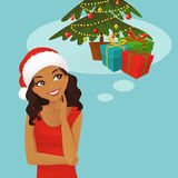 Chrismas black woman thinking Stock Images