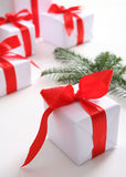 Chrismas boxes and some fire Royalty Free Stock Image