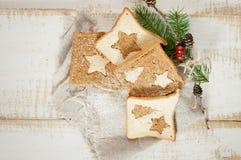 Chrismas breakfast.  Slice toast bread. Royalty Free Stock Photography