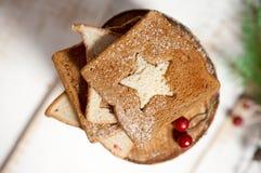 Chrismas breakfast - slice toast bread. Royalty Free Stock Photo
