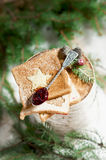 Chrismas breakfast. Spoon berry jam and slice toast bread. Stock Photography