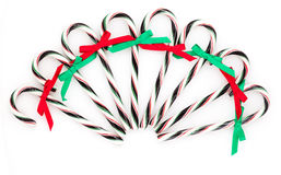 Chrismas candy canes. On a white background Royalty Free Stock Photo