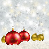 Chrismas card. Christmas card with red and golden christmas balls Royalty Free Stock Photography