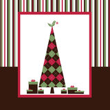 Chrismas Card Series - Brown. Christmas Tree and colour background Royalty Free Stock Image