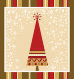 Chrismas Card Series - Red. Christmas Tree and colour background Stock Photo