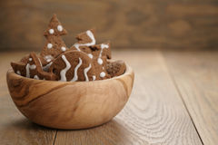 Chrismas chocolate cookies in wooden bowl on oak table with copy space Stock Photo