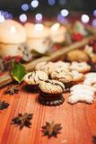 Chrismas coconuts sweets with chrismas decoration Royalty Free Stock Image