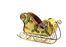 Chrismas d'or Sleigh Image libre de droits