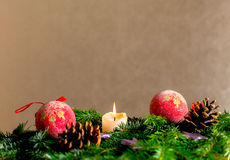 Chrismas decor front of golden background Royalty Free Stock Photo