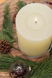 Chrismas decoration candle plate Royalty Free Stock Images