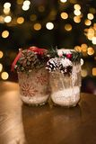Chrismas decoration jar. Whit blur lights backgraund Royalty Free Stock Photos