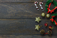 Chrismas decoration and ornament on wooden background w royalty free stock photography