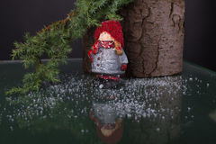 Chrismas  decoration with statuette of little cute girl Royalty Free Stock Images