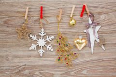 Chrismas decorations hanging on rope Stock Images